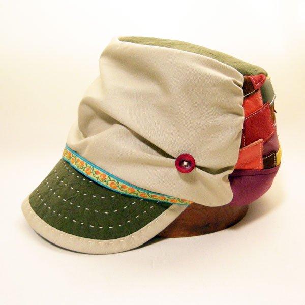 「山女日記」柚月さんの帽子M.K様(2246)後ろパッチワークオーダーメイドキャスケット(60cm仕上げ→57cm仕上げに変更)