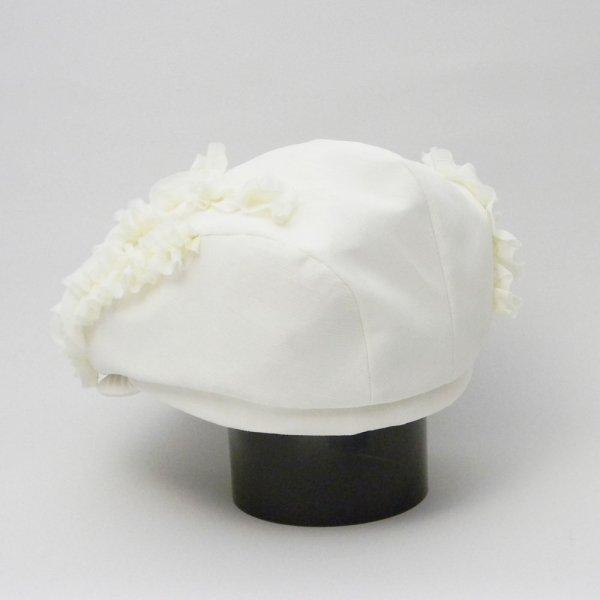 【カスタムオーダー帽子】シフォン白ハンチング 57.5cm J.U様  57.5 cm仕上げ【OD2349】