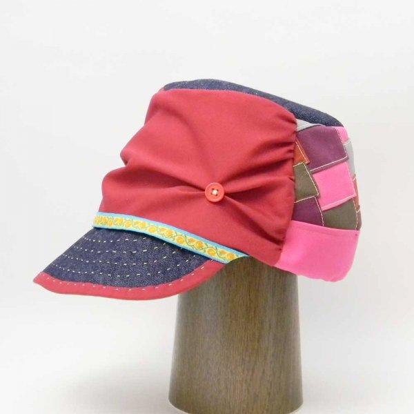 【オーダーメイド帽子】柚月さんキャスケット パッチワーク綿素材 K.N様 60cm【OD2413】