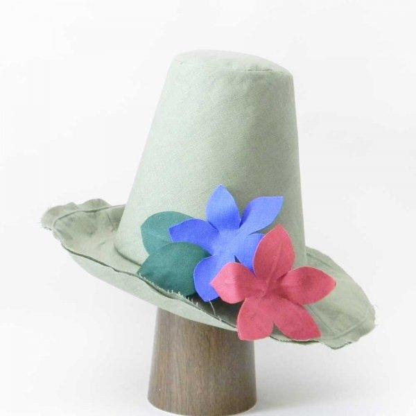 【フルオーダー帽子】ナフキンテイストのお花のハット M.F様62cm仕上げ【OD2448】