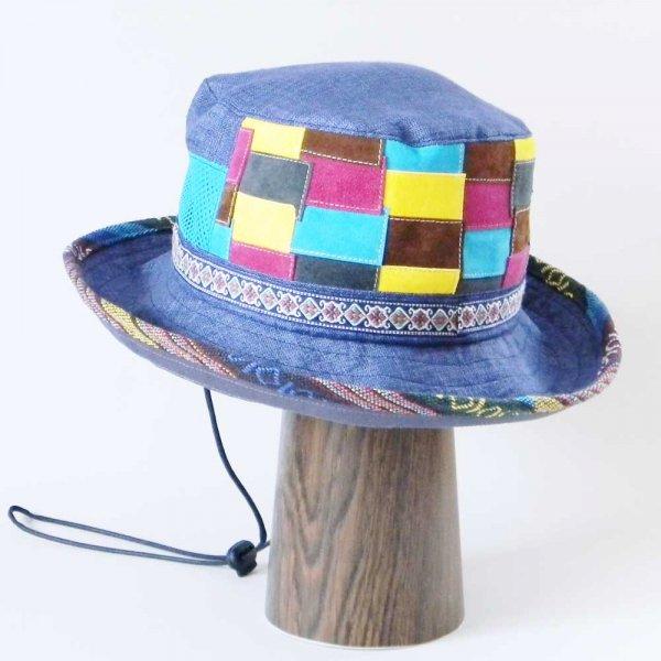 【OD2467】「山女日記」陽菜さんの帽子(ハット・後ろパッチワーク)素材と色をカスタムしたオーダーメイドの帽子です。