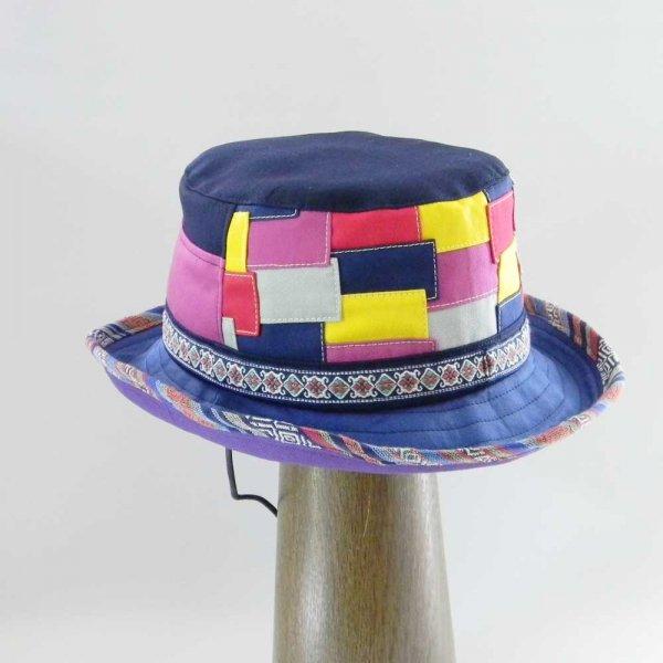 【OD2345】「山女日記」陽菜さんの帽子(ハット・後ろパッチワーク)素材と色をカスタムしたオーダーメイドの帽子です。