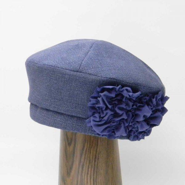 【【カスタムオーダー帽子】フラワーベレー(ネイビー)H.T様 57.5 cm仕上げ【OD2358】