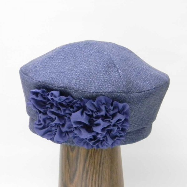 【カスタムオーダー帽子】フラワーベレー(ネイビー)H.T様 57.5 cm仕上げ【OD2358】