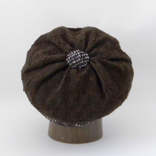 大きなボタンで後ろ姿が可愛いキャスケット【ボタンキャスケット】レディース帽子 秋冬用 小顔 サイズ調整OK PL1529