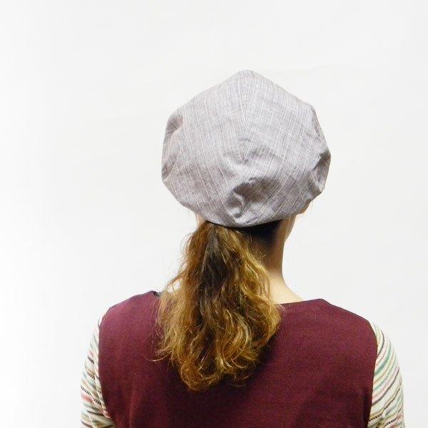 髪の毛をむすんだままかぶれる帽子