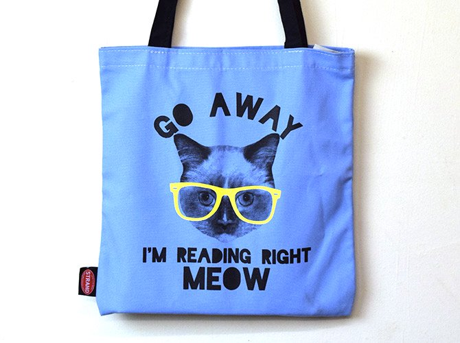 STRAND BOOK STORE トートバッグ Blue Reading Right Meow
