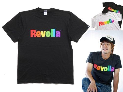 Revolla レインボーロゴTシャツ(ブラック/ホワイト) size:S〜XL