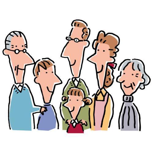 Peo001 家族6人 イラストライブラリ Webから印刷用まで使えるロイヤリティフリーストックイラスト 家族 ファミリー ビジネス 立体イラスト 他 企画 制作 株式会社グラス