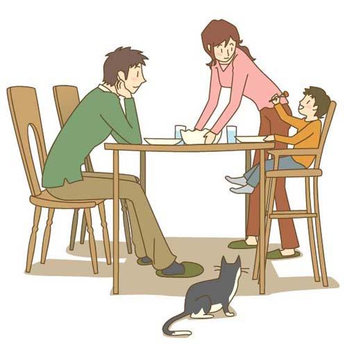 朝の家族の食卓の無料イラスト素材|イラストイ …