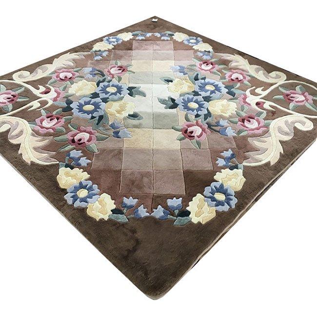 タイル調花柄ムートンカーペット 正方形約200x200cm