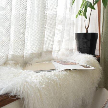 チベットラム フルスキン 1匹物 約60×95cm 単色アイボリー