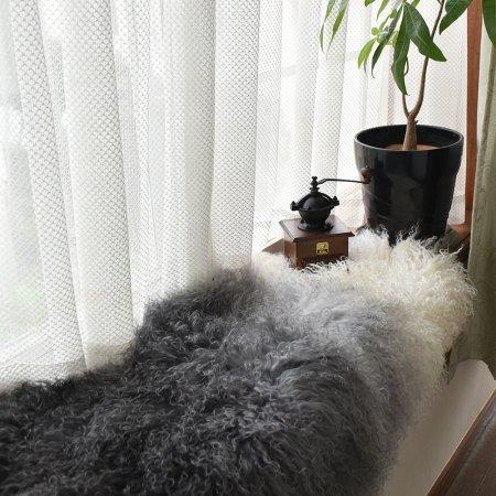 チベットラム フルスキン 1匹物 約60×95cm グラデーション染め(ダークグレイ→アイボリー)