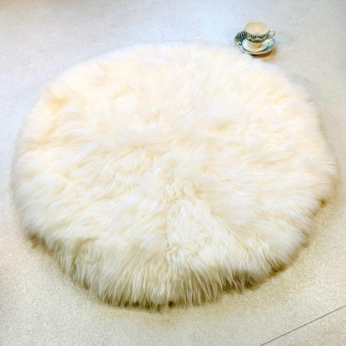 ムートン長毛 大円形クッション アイボリー 直径90cm