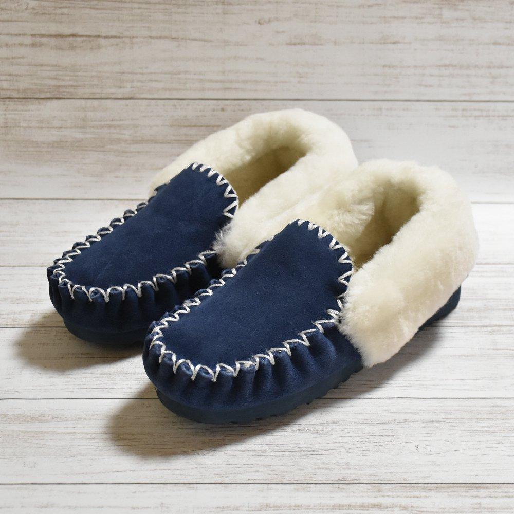 本日(21/2/2)再値下げ!!PoPoシューズ 足を包み込む高品質毛皮使用 ダークブルー