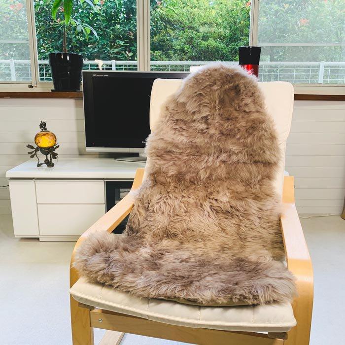 ムートン長毛フリース ブラウン 1.5匹タイプ 約60x120cm