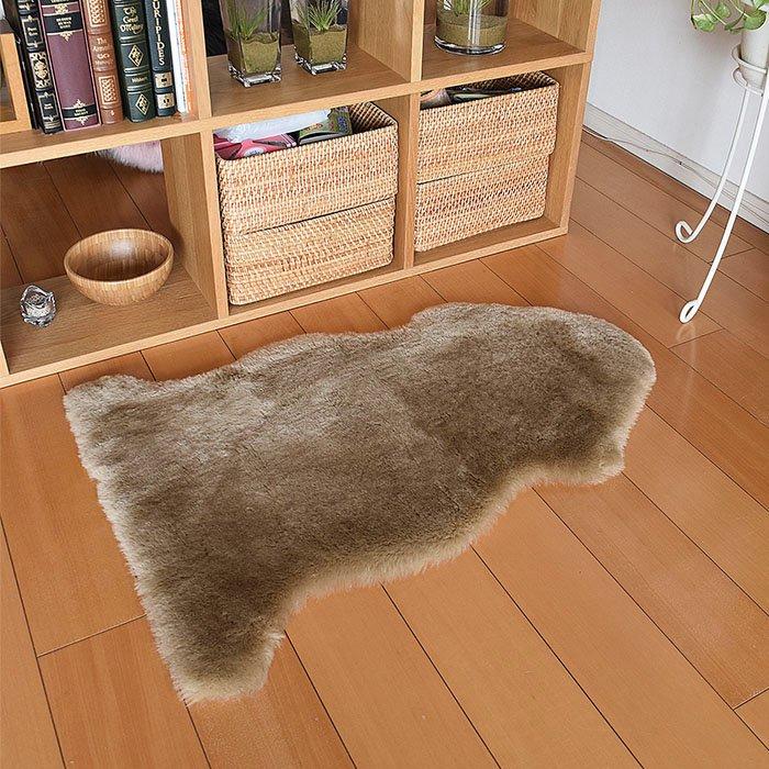 ムートンの短毛スキン1匹物 キャメロン 約60x90cm 毛足30mm