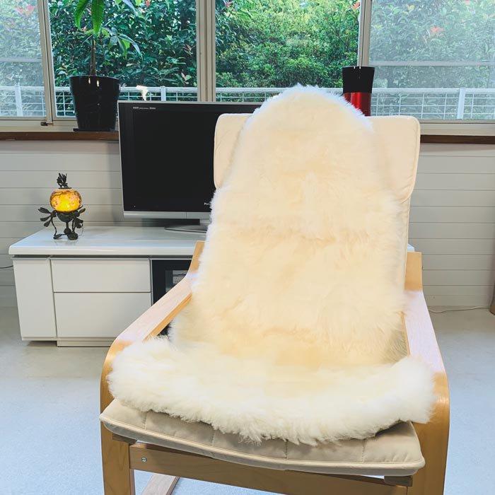 ムートン長毛フリース アイボリー 1.5匹タイプ 約60x120cm