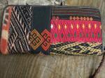 かわいい民族刺繍&さまざまな手織り布×牛革レザーのパッチワーク、とっても使いやすいお財布っ☆9z-3