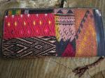 かわいい民族刺繍&さまざまな手織り布×牛革レザーのパッチワーク、とっても使いやすいお財布っ☆9z-6