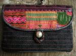 ヘンプ布と牛革レザー&少数民族モン族の刺繍の二つ折りお財布*w-27-3