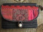 ヘンプ布と牛革レザー&少数民族モン族の刺繍の二つ折りお財布*w-27-4