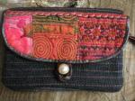 ヘンプ布と牛革レザー&少数民族モン族の刺繍の二つ折りお財布*w-27-5