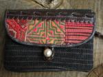 ヘンプ布と牛革レザー&少数民族モン族の刺繍の二つ折りお財布*w-27-6