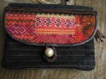 ヘンプ布と牛革レザー&少数民族モン族の刺繍の二つ折りお財布*w-27-7