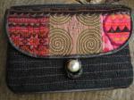 ヘンプ布と牛革レザー&少数民族モン族の刺繍の二つ折りお財布*w-27-8