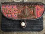 ヘンプ布と牛革レザー&少数民族モン族の刺繍の二つ折りお財布*w-27-9