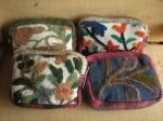 カシミール手刺繍の布とヘンプのジップミニポーチ♪全4種類