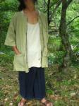 手紡ぎ草木染め手織り手縫いスローな羽織り