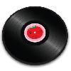 JosephJoseph(ジョゼフジョゼフ)強化ガラスカッティングボード(まな板) ビニールレコード トマト 丸型