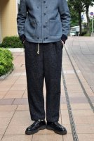 【SOLD OUT】FRANK LEDER  Navy Nep Herringbone Wool Draw String Pant