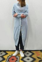 【SOLD OUT】HAKUJI  Cotton Silk Knit Long Cardigan (Sax Blue)