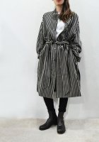 【SOLD OUT】m's braque  Over Sized Stand Coller Shirts Coat(Black Stripe)