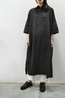 【SOLD OUT】FRANK LEDER  Charcoal Dyed Flax Shirt Dress (Mid.Brown)