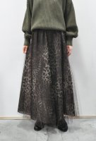 【SOLD OUT】Bilitis dix-sept ans  Leopard Printed Tulle Long Skirt (Dark Brown)