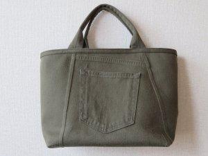 ジーンズのパンツから作った手提げバッグ