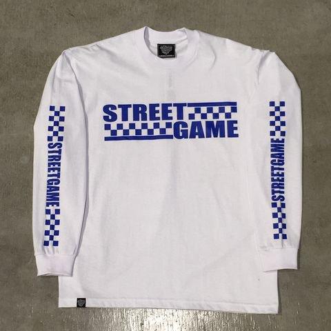 STREETGAMEロングT-Shirt/CHECKER (Heavy weight)(ホワイト/ロイヤルブルー)