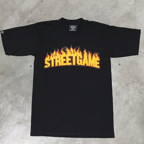 STREET GAME T-Shirts/FIRE (Heavy Weight)(ブラック/イエロー)
