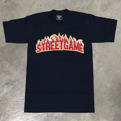 STREET GAME T-Shirts/FIRE (Heavy Weight)(ネイビー/レッド)