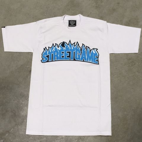 STREET GAME T-Shirts/FIRE (Heavy Weight)(ホワイト/スカイブルー)