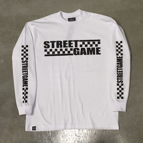 STREETGAMEロングT-Shirt/CHECKER (Heavy weight)(ホワイト/ブラック)