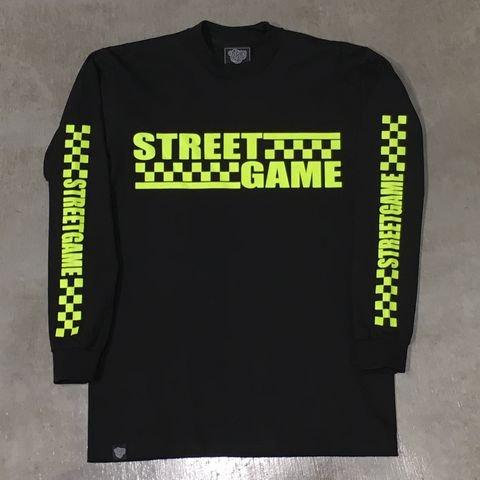 STREETGAMEロングT-Shirt/CHECKER (Heavy weight)(ブラック/ネオンイエロー)
