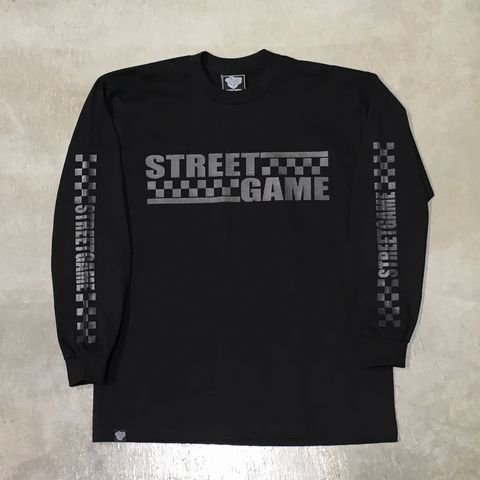 STREETGAMEロングT-Shirt/CHECKER (Heavy weight)(ブラック/チャコール)