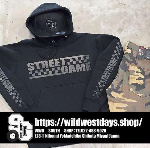 STREETGAME/CHECKER(裏起毛)パーカー(ブラック/ホワイト)