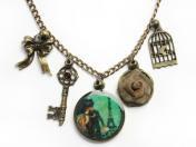 アンティークパリとゴールドローズのネックレス  Ellene(スペイン)