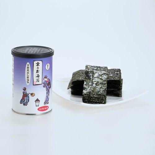 京のお海苔シリーズ(丸缶)<br>『京都蔵出し醤油の味のり10切40枚(板海苔4枚分)』